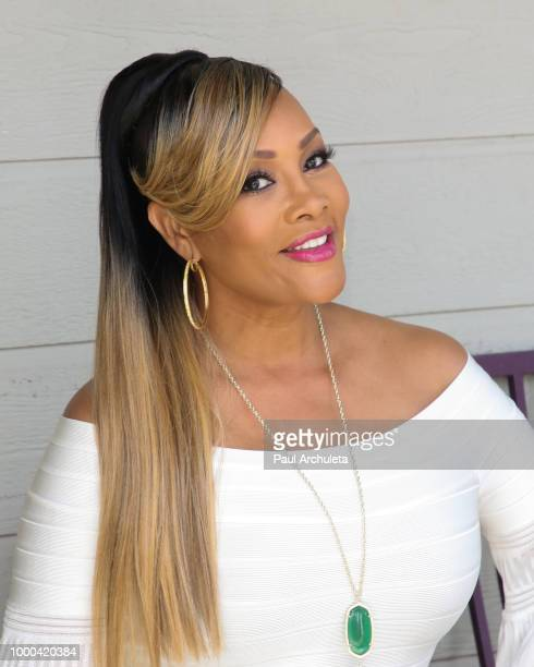 Reality TV Personality Erica Campbell visits Hallmark's 'Home Family' celebrating 'Christmas In July' at Universal Studios Hollywood on July 16 2018...