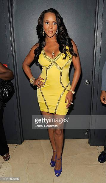 Actress Vivica Fox poses for a photo during BJ Coleman's 31st birthday party at The Polar Lounge on August 25, 2011 in New York City.