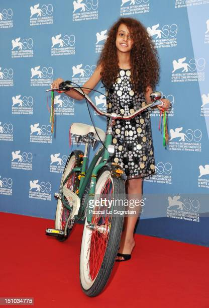 Actress Waad Mohammed attends the Wadjda photocall during the 69th Venice Film Festival at the Palazzo del Casino on August 31 2012 in Venice Italy