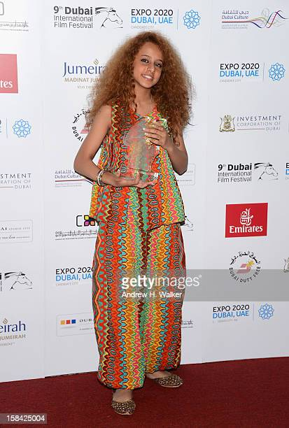 Actress Waad Mohammed with the Muhr Arab Feature Best Actress award during the Closing Ceremony on day eight of the 9th Annual Dubai International...