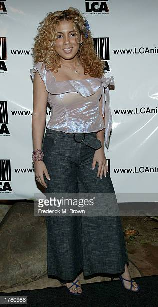 Actress Wanda Rovera attends the Last Chance For Animals fundraiser party on February 12 2003 in Los Angeles California The event benefits National...