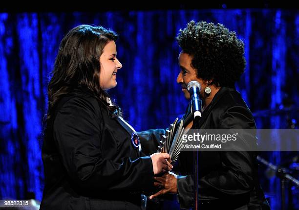 Actress Wanda Sykes is presented the Stephen F. Kolpzak Award by teen advocate Constance McMillen onstage at the 21st Annual GLAAD Media Awards held...