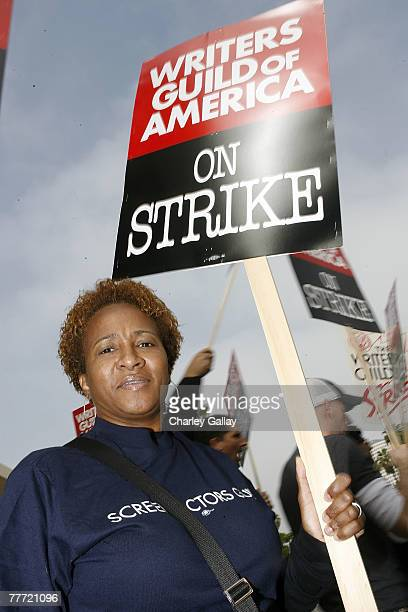 Actress Wanda Sykes protests in support of striking Hollywood writers outside of the Warner Brothers studio in Burbank California on November 5 2007...