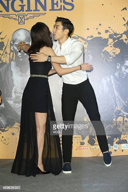 Actress Wang Luodan and South Korea actor Choi Siwon attend director Roy Chow's film 'Rise of the Legend' premiere on November 26 2014 in Taipei...