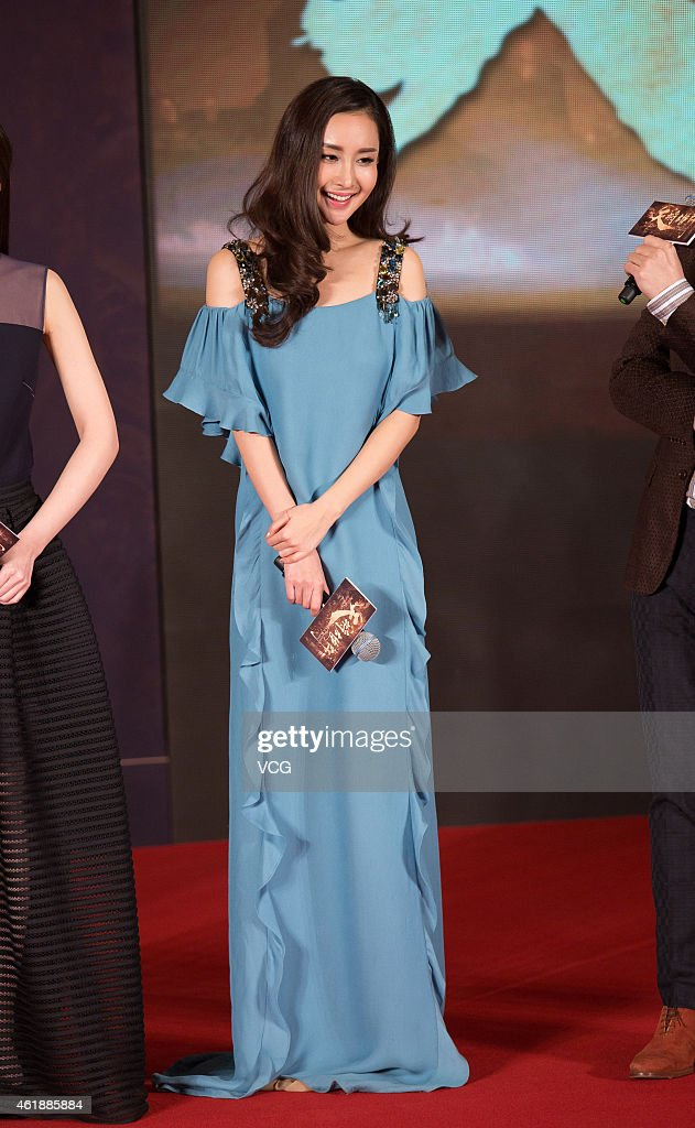 Actress Wang Ruoxin attends director Daniel Lee's film 'Dragon Blade' press conference on January 21, 2015 in Beijing, China.