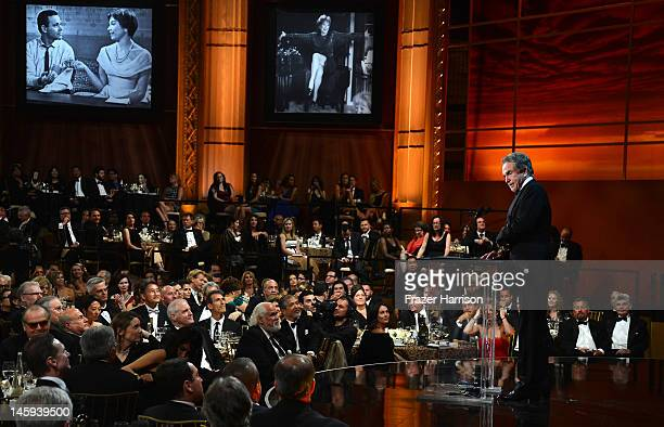 Actress Warren Beatty speaks onstage at the 40th AFI Life Achievement Award honoring Shirley MacLaine held at Sony Pictures Studios on June 7 2012 in...