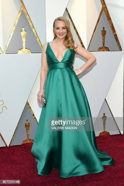 Actress Wendi McLendonCovey arrives for the 90th Annual Academy Awards on March 4 in Hollywood California / AFP PHOTO / VALERIE MACON