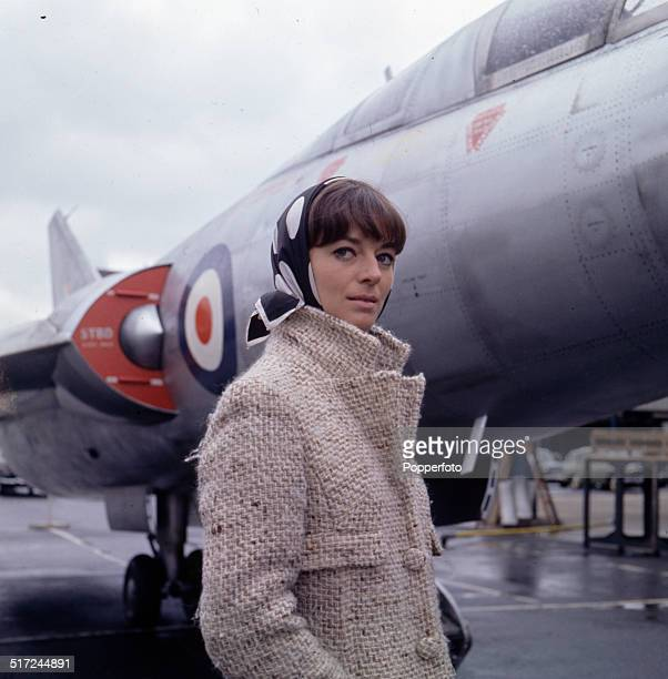 Actress Wendy Gifford in front of the Scott-Furlong Predator VTOL aircraft from the television series 'The Plane Makers' in 1964.