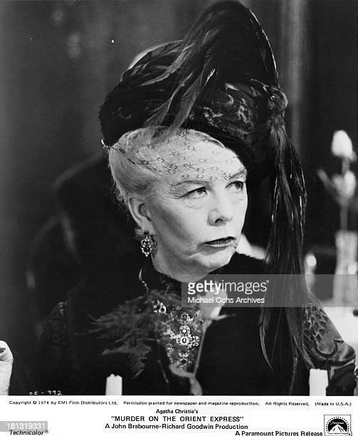 Actress Wendy Hiller on the set of the Paramount Pictures movie 'Murder on the Orient Express' in 1974