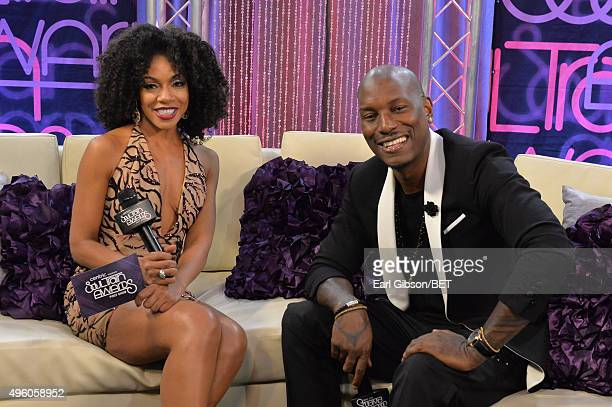 Actress Wendy Raquel Robinson and actor/recording artist Tyrese attend the 2015 Soul Train Music Awards at the Orleans Arena on November 6 2015 in...