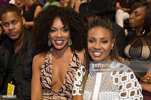 Actress Wendy Raquel Robinson and recording artist MC Lyte attend the 2015 Soul Train Music Awards at the Orleans Arena on November 6 2015 in Las...
