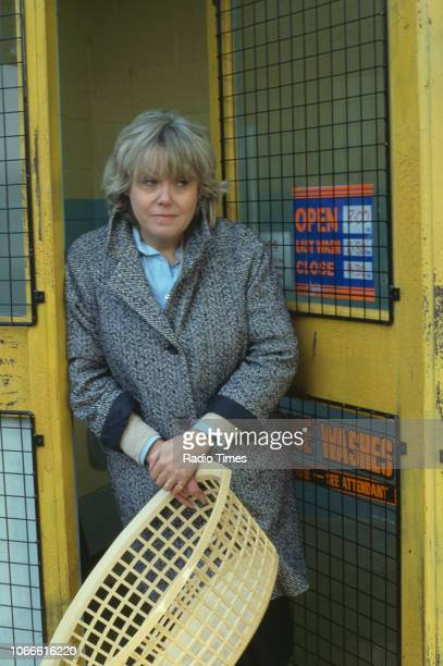 Actress Wendy Richard pictured on the exterior set of the BBC soap opera 'EastEnders' April 5th 1991