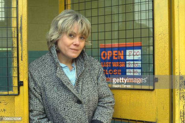Actress Wendy Richard pictured on the exterior set of the BBC soap opera 'EastEnders' 1984