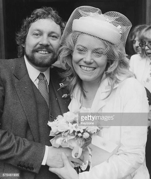 Actress Wendy Richard star of the BBC television show 'Are You Being Served' pictured on her wedding day with her new husband Will Thorpe at...