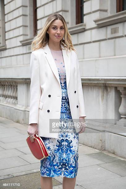 Actress Whitney Port wears a Julien Macdonald dress and jacket on February 21 2015 in London England