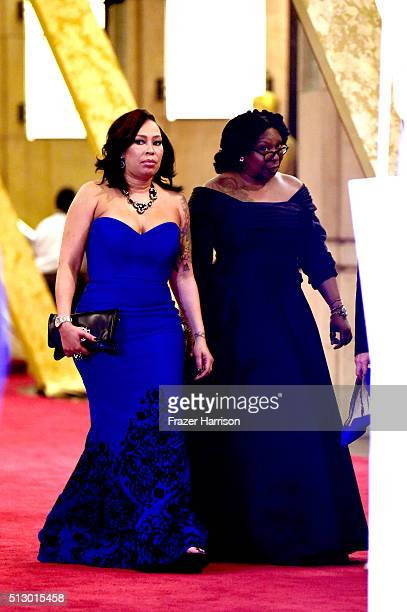 Actress Whoopi Goldberg and Alex Martin depart the 88th Annual Academy Awards at Hollywood Highland Center on February 28 2016 in Hollywood California