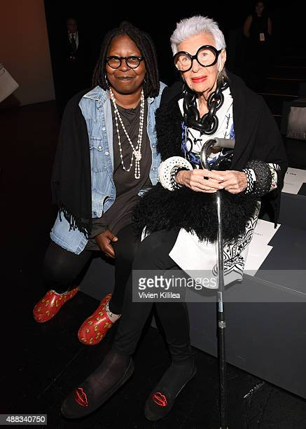 Actress Whoopi Goldberg and Iris Apfel attend Carmen Marc Valvo Women's and Men's Collection S/S 2016 during New York Fashion Week The Shows at The...