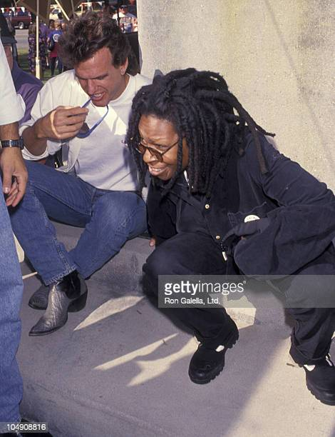Actress Whoopi Goldberg and son Lyle Trachtenberg attend IATSE Union Salidarity Rally on November 20 1993 at Johnny Carson Park in Burbank California