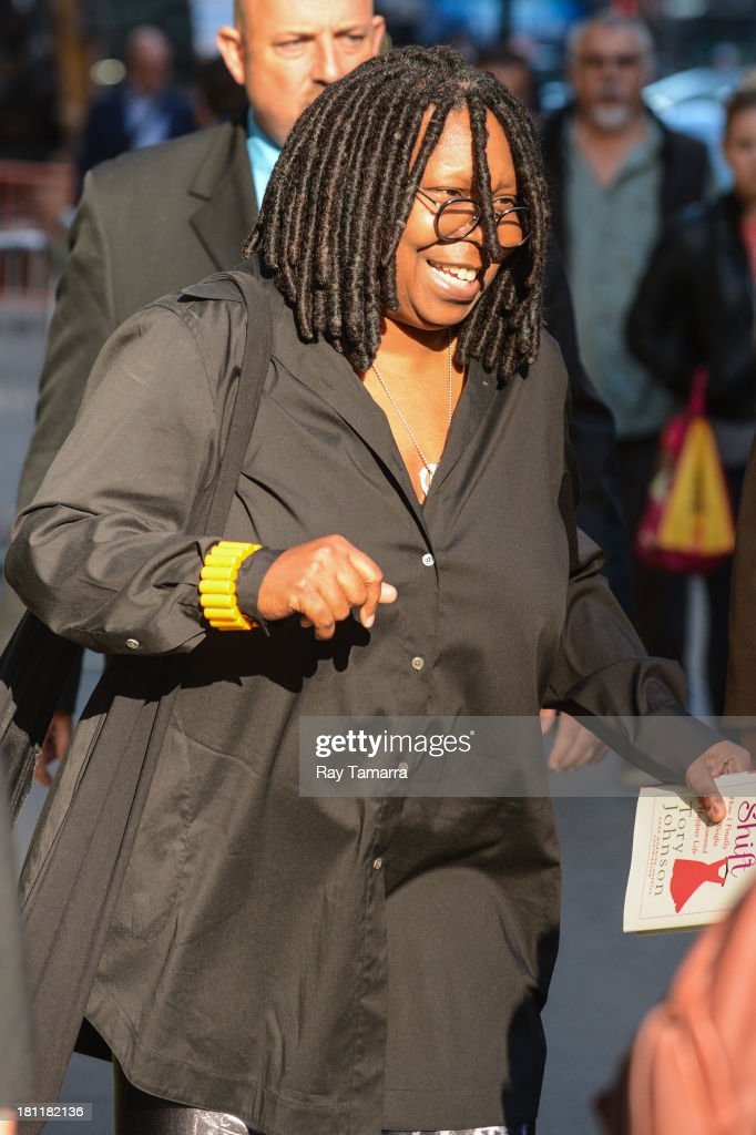 Actress Whoopi Goldberg leaves the 'Good Morning America' taping at the ABC Times Square Studios on September 19, 2013 in New York City.