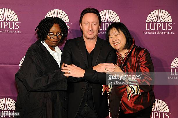 Actress Whoopi Goldberg LFA glgobal ambassador Julian Lennon and May Pang attend the Lupus Foundation of America New York City Butterfly Gala at The...