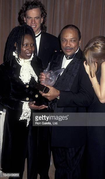 Actress Whoopi Goldberg Lyle Trachtenberg and producer Quincy Jones attend Sheba Humanitarian Awards Honoring Whoopi Goldberg on January 22 1995 at...