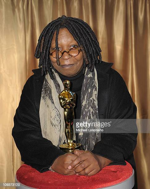 Actress Whoopi Goldberg poses with the Oscar statuette during the 83rd Annual Academy Awards 'Meet The Oscars' New York at Grand Central Terminal on...