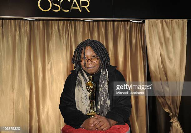Actress Whoopi Goldberg poses with the Oscar statuette during the 83rd Annual Academy Awards Meet The Oscars New York at Grand Central Terminal on...