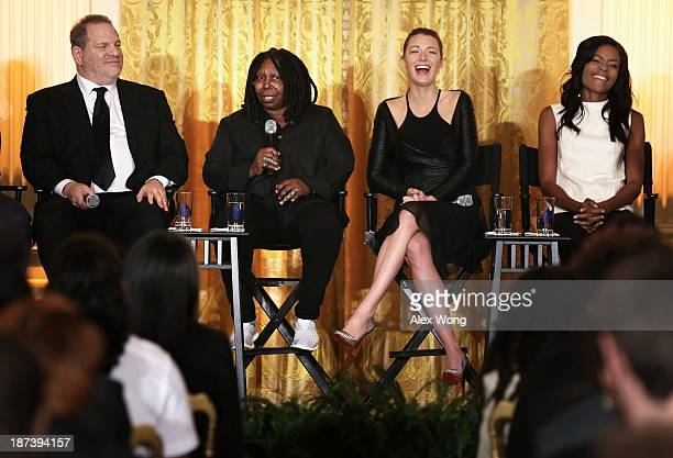 Actress Whoopi Goldberg speaks as production executive Harvey Weinstein actress Blake Lively actress Naomie Harris listen during a workshop for high...