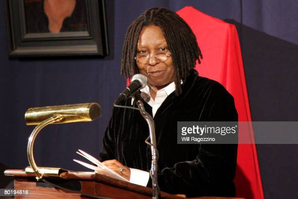 Actress Whoopi Goldberg speaks at the presentation of the 2008 Sir John Gielgud Award to Patrick Stewart at The National Arts Club March 10, 2008 in...