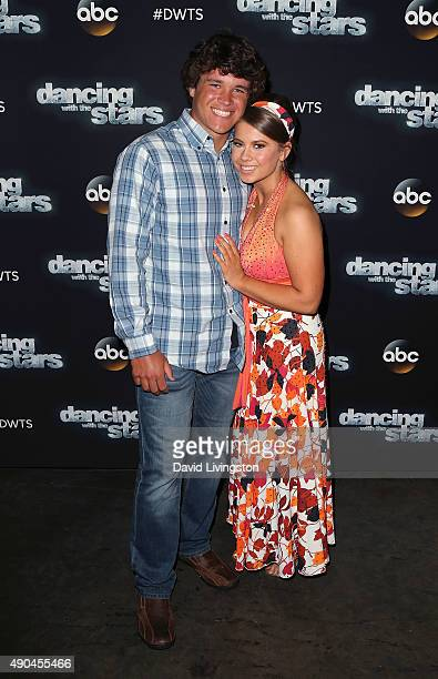 Actress/ wildlife conservationist Bindi Irwin and boyfriend Chandler Powell pose at 'Dancing with the Stars' Season 21 at CBS Television City on...