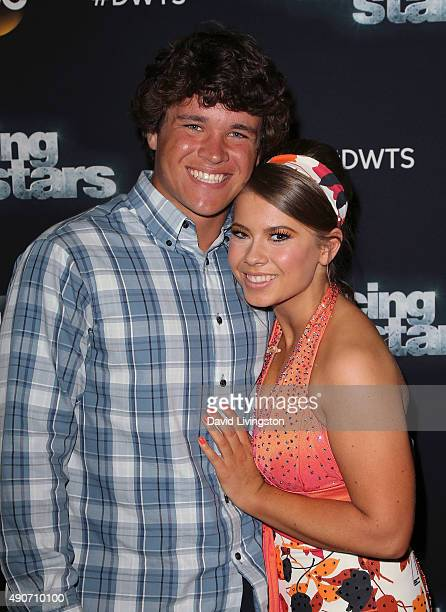 Actress/ wildlife conservationist Bindi Irwin and boyfriend Chandler Powell pose at 'Dancing with the Stars' Season 21 at CBS Televison City on...