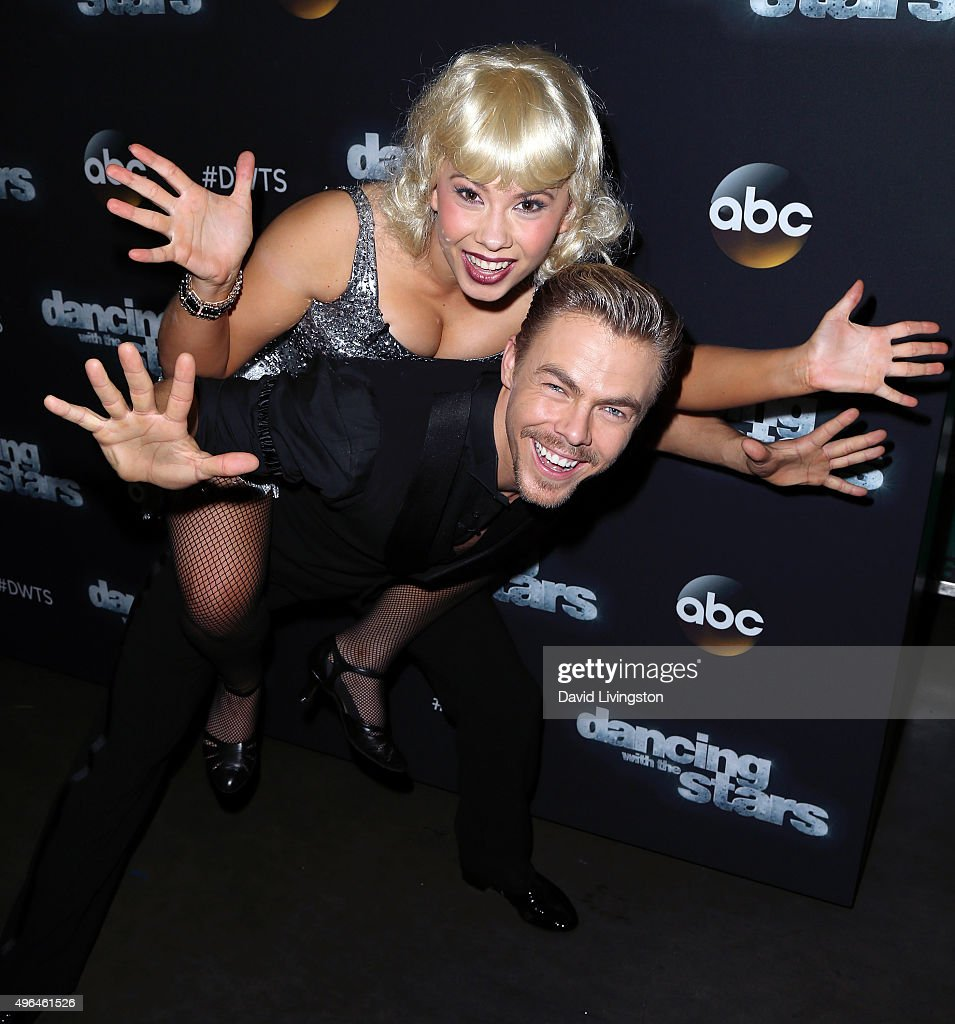 Actress/ wildlife conservationist Bindi Irwin and dancer/TV personality Derek Hough attend 'Dancing with the Stars' Season 21 at CBS Television City on November 9, 2015 in Los Angeles, California.
