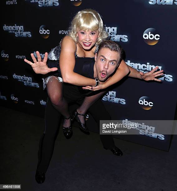 """Actress/ wildlife conservationist Bindi Irwin and dancer/TV personality Derek Hough attend """"Dancing with the Stars"""" Season 21 at CBS Television City..."""