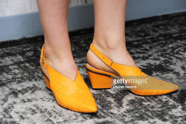 Actress Willa Fitzgerald shoe detail attends Build series to discuss 'Beach House' at Build Studio on June 18 2018 in New York City