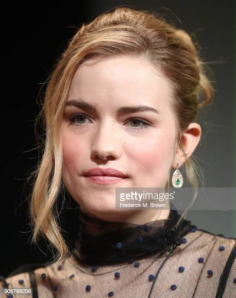 Actress Willa Fitzgerald speaks during the PBS segment of the 2018 Winter Television Critics Association Press Tour at The Langham Huntington...