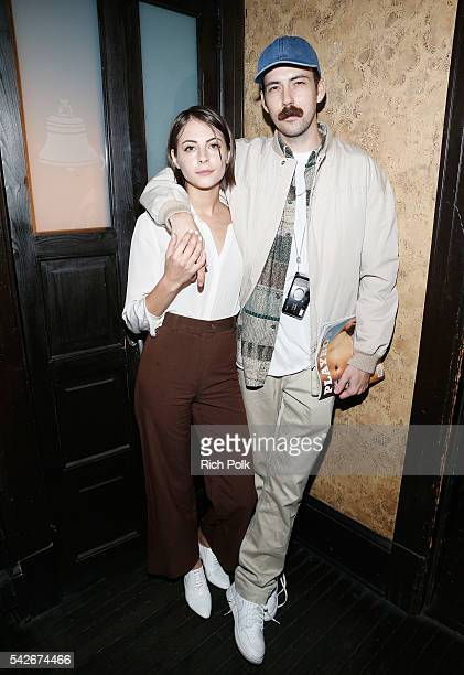 Actress Willa Holland and Nate Walton celebrate the release of Playboy magazine's 'The Freedom Issue' at No Vacancy on June 23 2016 in Los Angeles...