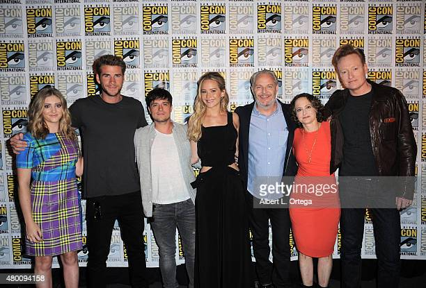 Actress Willow Shields actor Liam Hemsworth actor Josh Hutcherson actress Jennifer Lawrence director Francis Lawrence producer Nina Jacobson and TV...
