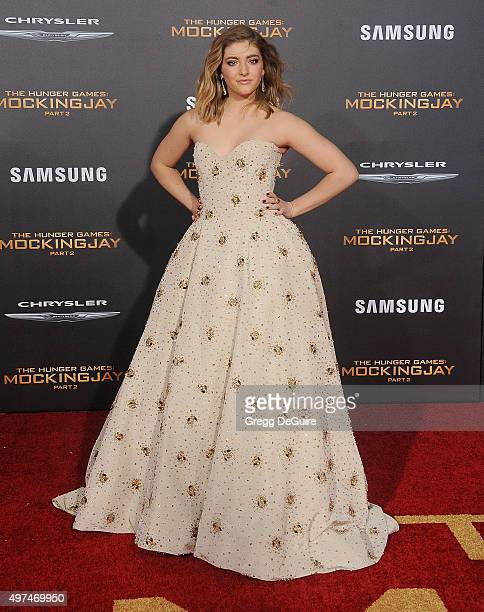 Actress Willow Shields arrives at the premiere of Lionsgate's The Hunger Games Mockingjay Part 2 at Microsoft Theater on November 16 2015 in Los...