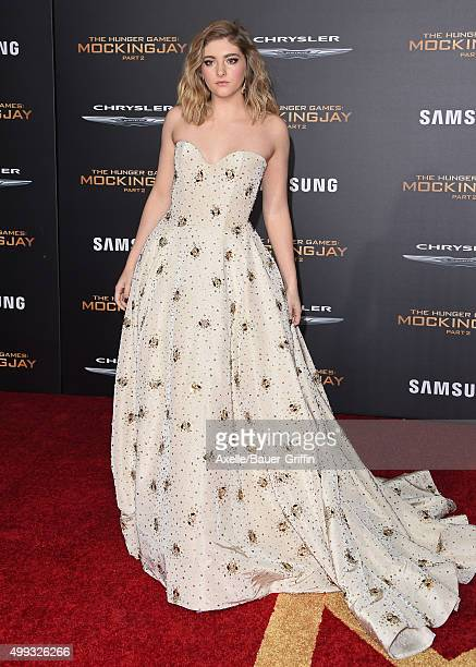 Actress Willow Shields arrives at the premiere of Lionsgate's 'The Hunger Games Mockingjay Part 2' at Microsoft Theater on November 16 2015 in Los...