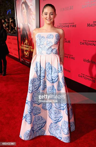 Actress Willow Shields attends premiere of Lionsgate's The Hunger Games Catching Fire Red Carpet at Nokia Theatre LA Live on November 18 2013 in Los...