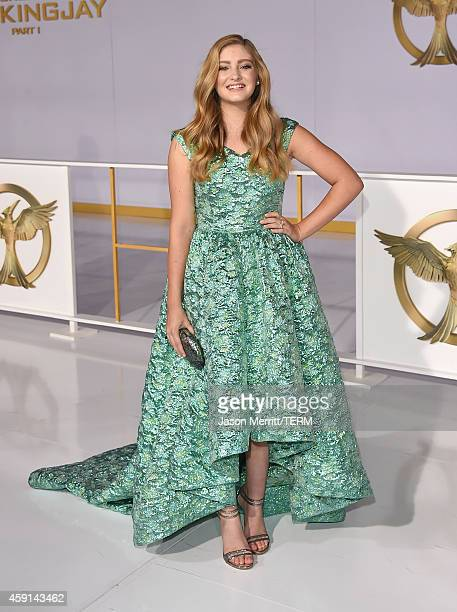 Actress Willow Shields attends the Premiere of Lionsgate's The Hunger Games Mockingjay Part 1 at Nokia Theatre LA Live on November 17 2014 in Los...