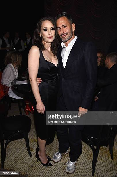 Actress Winona Rider and designer Marc Jacobs attend Marc Jacobs Beauty Velvet Noir Mascara Launch Dinner on January 18 2016 in New York City