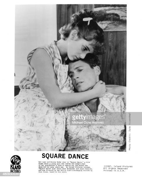 Actress Winona Ryder and actor Rob Lowe in a scene from the movie 'Square Dance' circa 1987