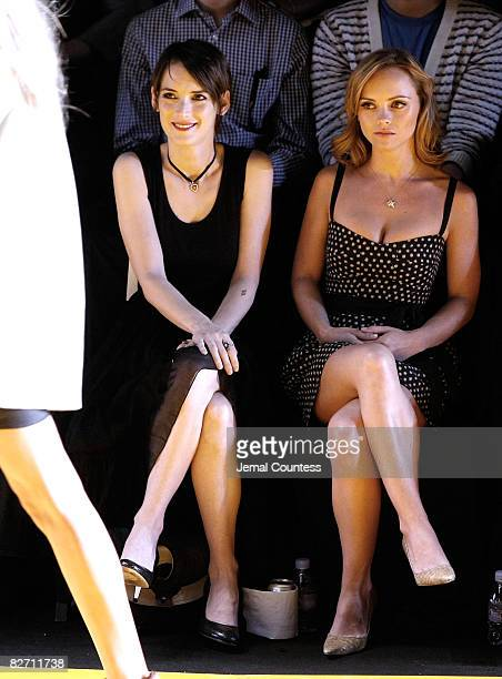 Actress Winona Ryder and Actress Christina Ricci attend the 'DKNY Celebrates 20 Years' Runway Show at The Tent Bryant Park on September 7 2008 in New...
