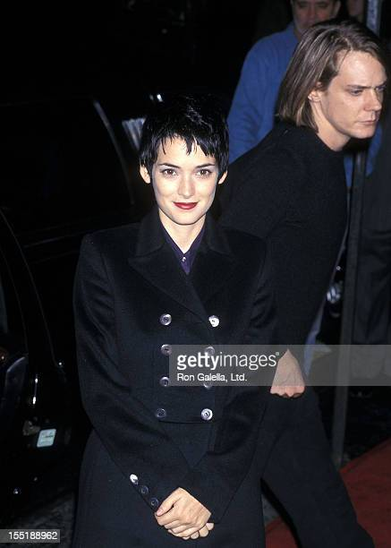 """Actress Winona Ryder and musician Dave Pirner of Soul Asylum attend """"The Crucible"""" New York City Premiere on November 25, 1996 at the Gotham Cinema..."""
