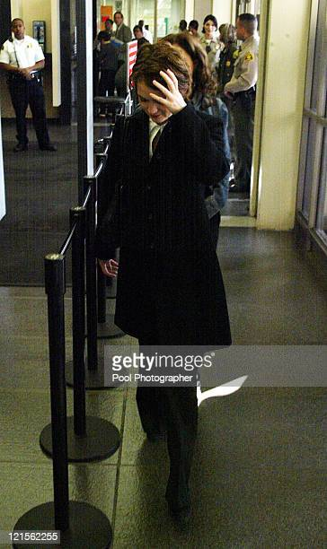 Actress Winona Ryder arrives at Beverly Hills Superior Court for her trial on charges of alleged grand theft commercial burglary and vandalism in...
