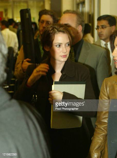 Actress Winona Ryder arrives at the Beverly Hills Municipal Court House in her trial on charges of alleged grand theft commercial burglary and...