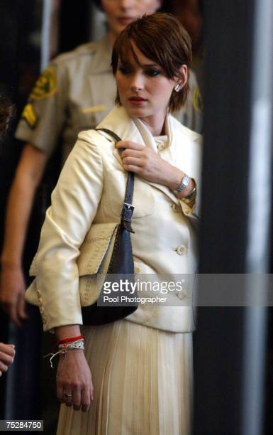 Actress Winona Ryder arrives at the Beverly Hills Superior Court House in her trial on charges of alleged grand theft commercial burglary and...