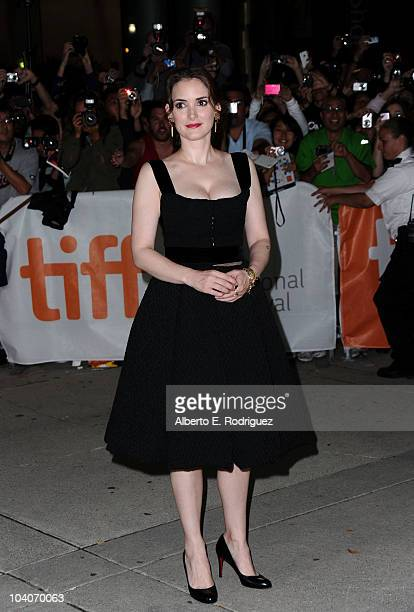 Actress Winona Ryder arrives at the Black Swan Premiere held at Roy Thomson Hall during the 35th Toronto International Film Festival on September 13...