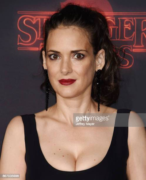 Actress Winona Ryder arrives at the Premiere Of Netflix's 'Stranger Things' Season 2 at Regency Westwood Village Theatre on October 26 2017 in Los...